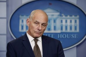 White House Chief of Staff John Kelly takes questions while addressing the daily briefing at the White House in Washington, D.C. Photo by Kevin Lamarque/Reuters