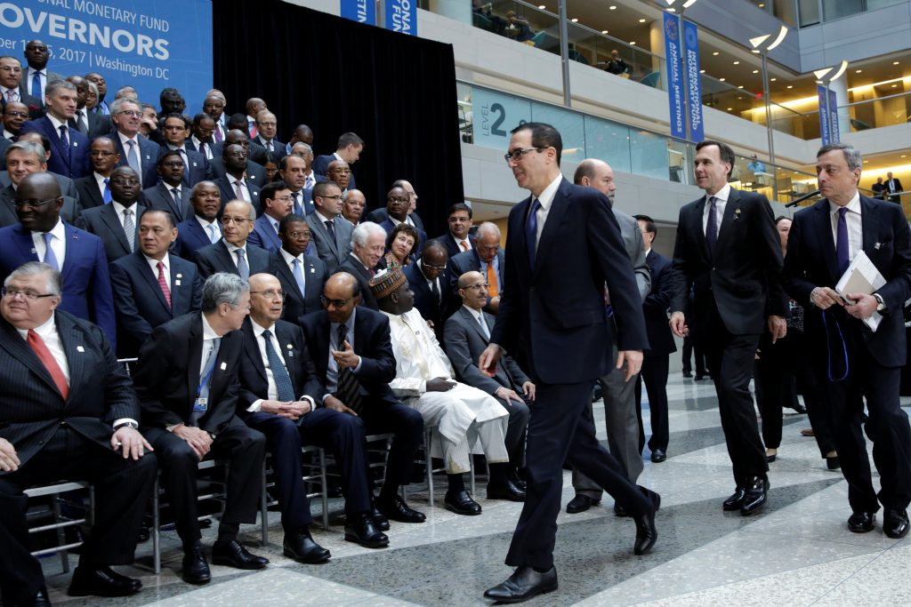 U.S. Treasury Secretary Steve Mnuchin arrives at IMF Governors family photo during the IMF/World Bank annual meetings in Washington