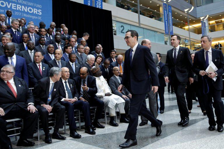 U.S. Treasury Secretary Steve Mnuchin arrives at IMF Governors family photo during the IMF/World Bank annual meetings in Washington