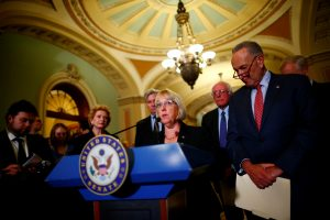 Senator Patty Murray (D-WA), flanked by Senate Minority Leader Chuck Schumer (D-NY), speaks to reporters on following a policy luncheon on Capitol Hill in Washington, D.C. Photo by Eric Thayer/Reuters