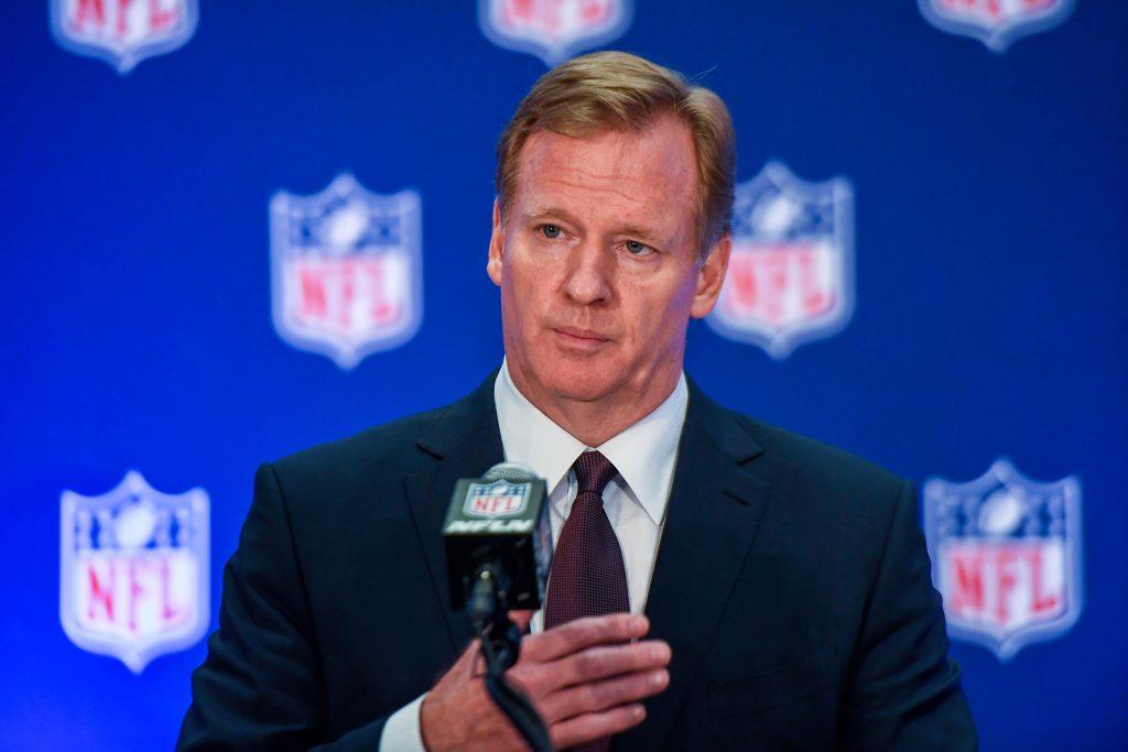 NFL commissioner Roger Goodell speaks to the media after the NFL ow…
