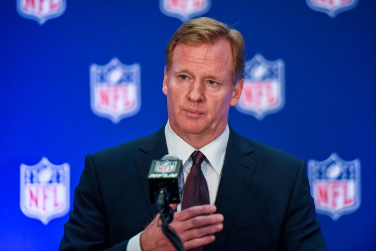 NFL commissioner Roger Goodell speaks to the media after the NFL owners meeting at Conrad Hotel. Photo by Catalina Fragoso/USA TODAY Sports