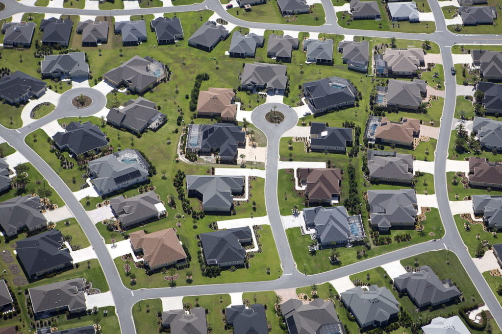 An aerial view of The Villages retirement community in Central Florida, June 27, 2015. The Villages has been the fastest growing metro area in the nation for two years running, more than doubling its population to 114,000 since 2010, according to the latest figures from the U.S. Census Bureau. REUTERS/Carlo Allegri