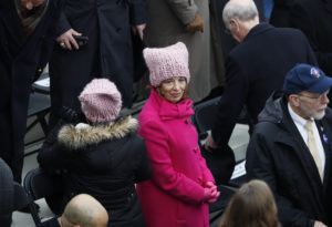 Rep. Jackie Speier, D-Calif., pictured wearing a pink protest hats prior to President Donald Trump's inauguration on Jan. 20, 2017. File photo by REUTERS/Brian Snyder