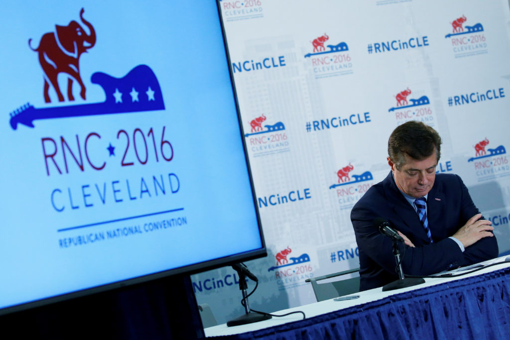 U.S. Republican presidential candidate Donald Trump's campaign chair and convention manager Paul Manafort appears at a press conference at the Republican Convention in Cleveland, U.S., July 19, 2016. REUTERS/Carlo Allegri/File Photo - S1AETWITVGAA