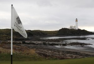 The light house is seen on the golf course at Trump Turnberry Scotland