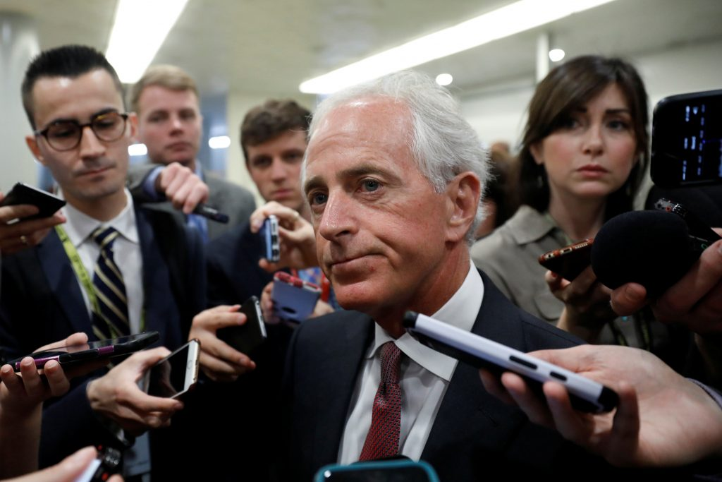 Sen. Bob Corker (R-TN) speaks to reporters in May about recent revelations of President Donald Trump sharing classified information with Russian officials on in Washington, D.C. Photo by Aaron P. Bernstein/Reuters