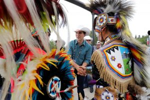 Canadian Prime Minister Trudeau meets indigenous dancers at the Calgary Stampede in Calgary