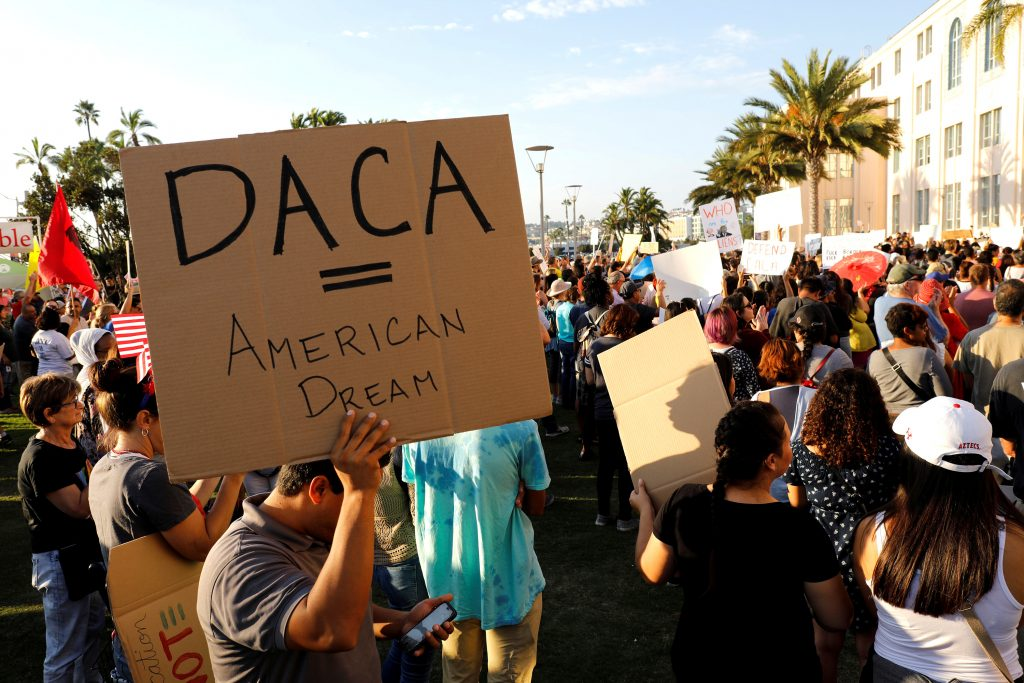 Alliance San Diego and other Pro-DACA supporters hold a protest rally in front of San Diego County Administration Center in San Diego, California on Sept. 5, 2017. Photo by John Gastaldo/Reuters