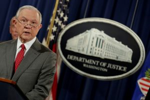 FILE PHOTO: Attorney General Jeff Sessions speaks at a briefing at the Justice Department in Washington