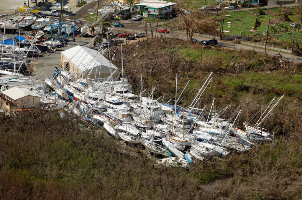 Vessels stored at a marina remain toppled 12 days after Hurricane Irma ripped through the island, in Charlotte Amalie on St. Thomas, U.S. Virgin Islands