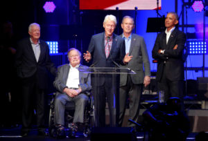 Five former U.S. presidents attend a concert at Texas A&M University benefiting hurricane relief efforts in College Station