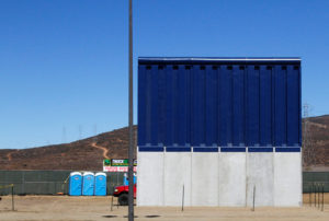 A prototype for U.S. President Donald Trump's border wall with Mexico is shown in this picture taken from the Mexican side of the border, in Tijuana, Mexico, October 23, 2017. REUTERS/Jorge Duenes - RC1D9C8F13E0