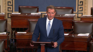 Sen. Jeff Flake, R-Ariz., speaks on the Senate floor. Image from Senate TV via Reuters