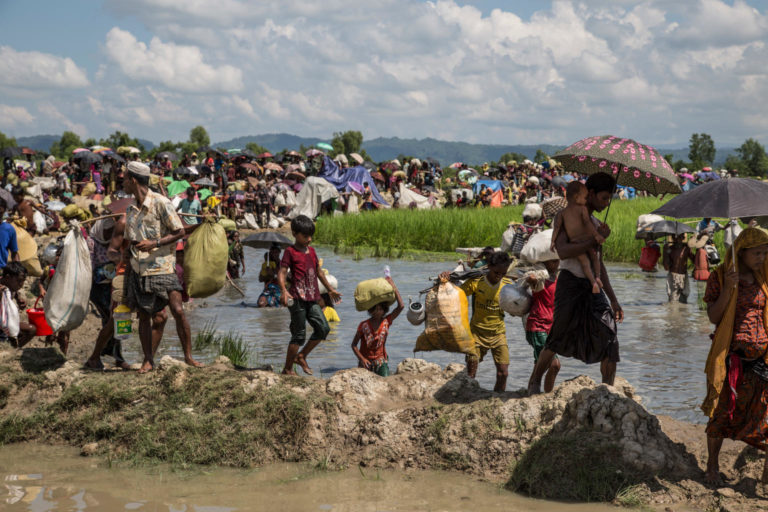Rohingya refugees cross into Bangladesh at Palong Khali in Cox's Bazar district in Bangladesh on Oct. 16. Photo by Roger LeMoyne/UNICEF