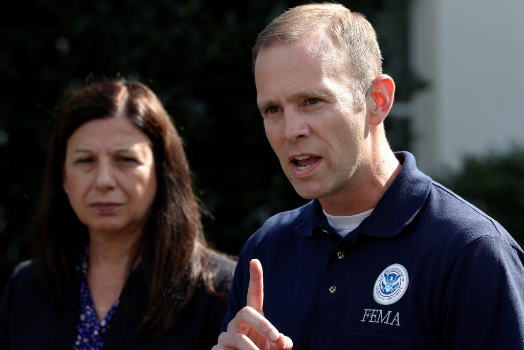 U.S. acting Secretary of Homeland Security Elaine Duke and Federal Emergency Management Agency (FEMA) Administrator Brock Long speak to reporters about Hurricane Maria relief efforts after meeting at the White House in Washington, U.S. September 26, 2017. REUTERS/Jonathan Ernst - RC1725EE05D0