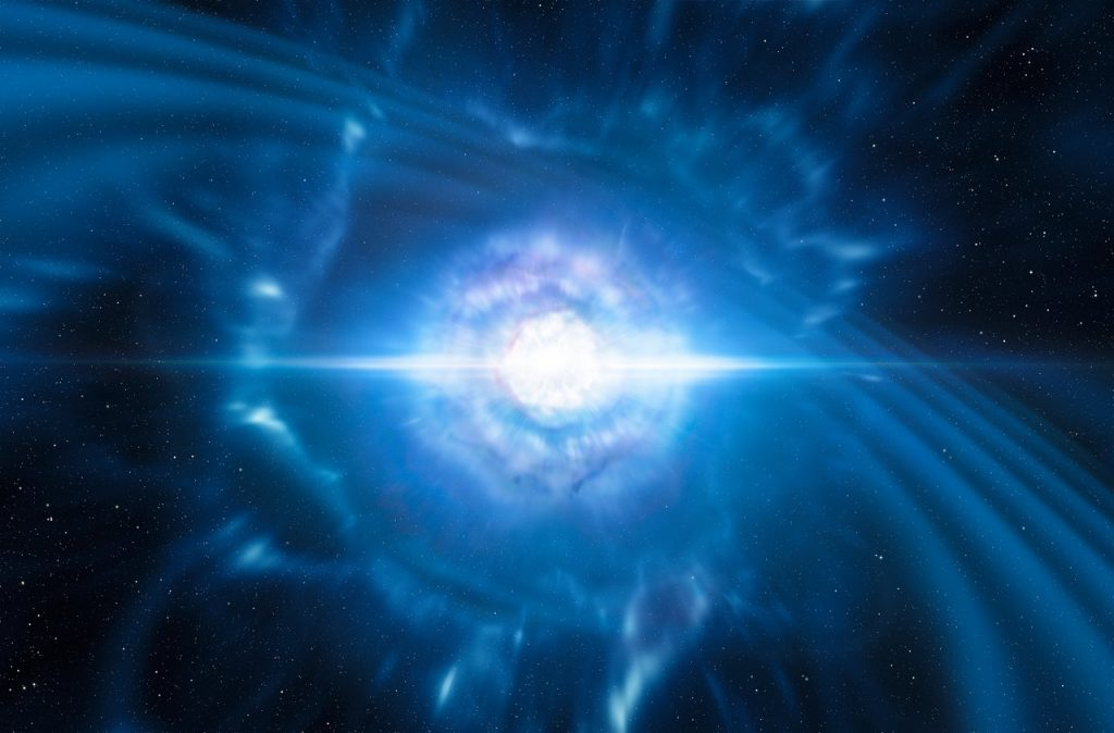 This artist's impression shows two tiny but very dense neutron stars at the point at which they merge and explode to produce gravitational waves and a short gamma-ray burst, both of which were observed on Aug. 17. Credit: ESO/L. Calçada/M. Kornmesser