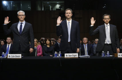 "(L-R) Colin Stretch, general counsel for Facebook; Sean Edgett, acting general counsel for Twitter; and Richard Salgado, director of law enforcement and information security at Google, are sworn in prior to testifying before Senate Judiciary Crime and Terrorism Subcommittee hearing on on ""ways to combat and reduce the amount of Russian propaganda and extremist content online,"" on Capitol Hill in Washington, U.S., October 31, 2017. REUTERS/Jonathan Ernst - HP1EDAV1GXF0A"