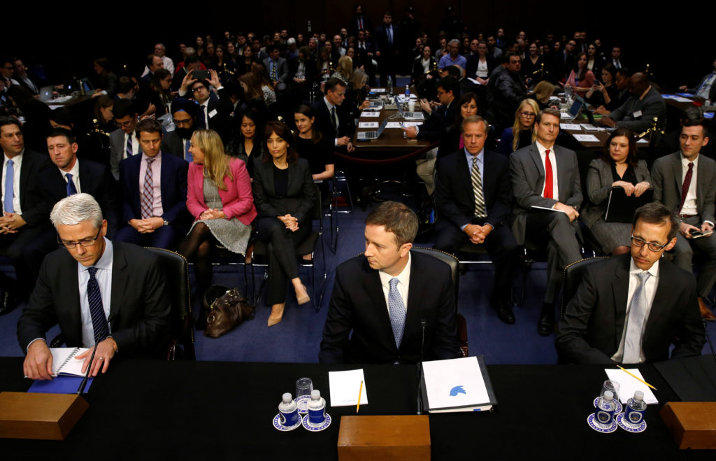 (L-R) Facebook General Counsel Colin Stretch, Twitter's acting General Counsel Sean Edgett and Google's Director of Law Enforcement and Information Security Richard Salgado are sworn in to testify before a U.S. Senate Judiciary Crime and Terrorism Subcommittee hearing on how Russia allegedly used their services to try to sway the 2016 U.S. elections, on Capitol Hill in Washington, U.S., October 31, 2017. REUTERS/Jonathan Ernst - RC185BF17180