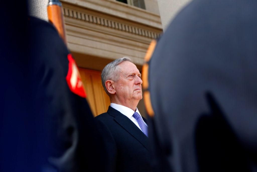 U.S. Defense Secretary James Mattis is seen at the Pentagon in Arlington, VA, U.S. April 13, 2017. REUTERS/Eric Thayer - RC16885F4D20
