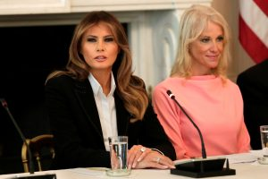 U.S. First Lady Melania Trump (L) speaks next to Counselor to the President Kellyanne Conway during a discussion with experts and people affected by the opioid crisis at the White House in Washington, U.S., September 28, 2017. REUTERS/Yuri Gripas - RC1C81154080