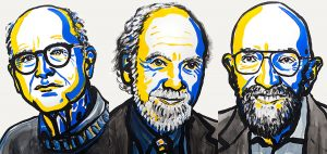Rainer Weiss, Barry C. Barish and Kip S. Thorne (left to right) won the 2017 Nobel Prize for physics for leading the projects that discovered gravitational waves. Illustrations by the Nobel Media/Ill. N. Elmehed