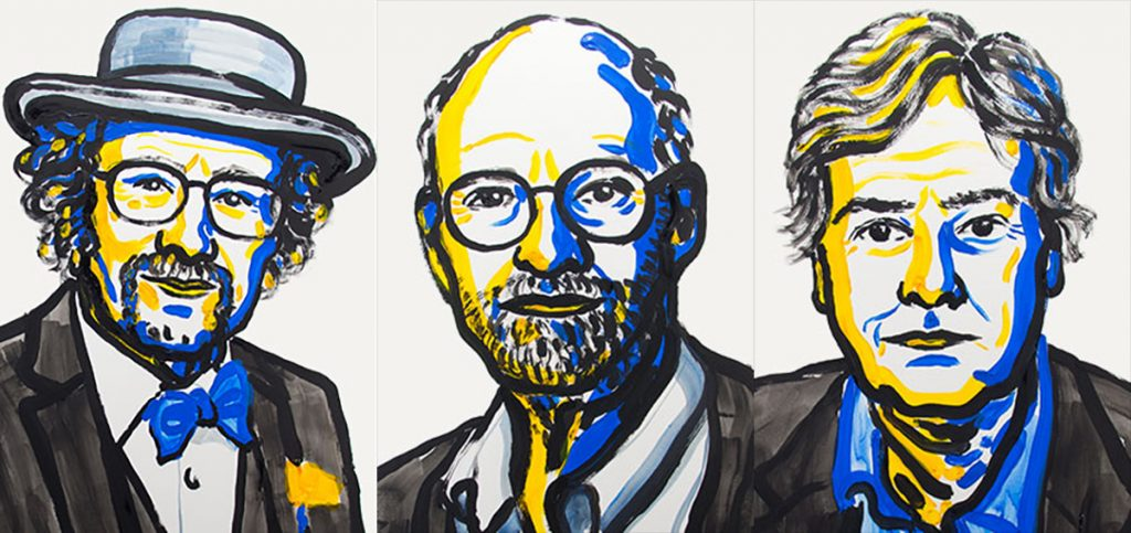 Jeffrey C. Hall, Michael Rosbash and Michael W. Young (left to right) won the 2017 Nobel Prize for physiology and medicine. Illustrations by the Nobel Assembly at the Karolinska Institutet