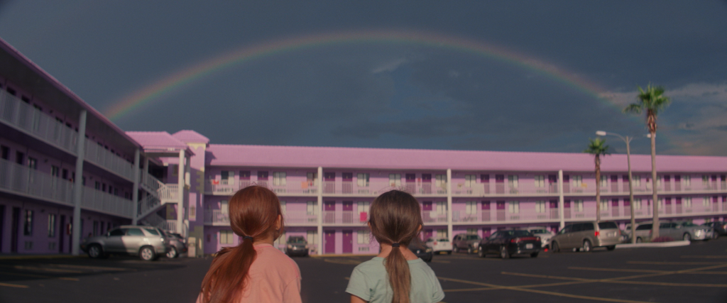 """Still from the new film """"The Florida Project,"""" which was shot entirely on 35mm film. Photo by Marc Schmidt, courtesy of A24"""