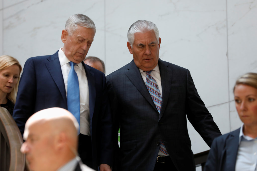 Secretary of Defense James Mattis and Secretary of State Rex Tillerson arrive to brief the Senate Foreign Relations Committee on the ongoing fight against the Islamic State on Capitol Hill in Washington, U.S., August 2, 2017. REUTERS/Aaron P. Bernstein - RC156343A940