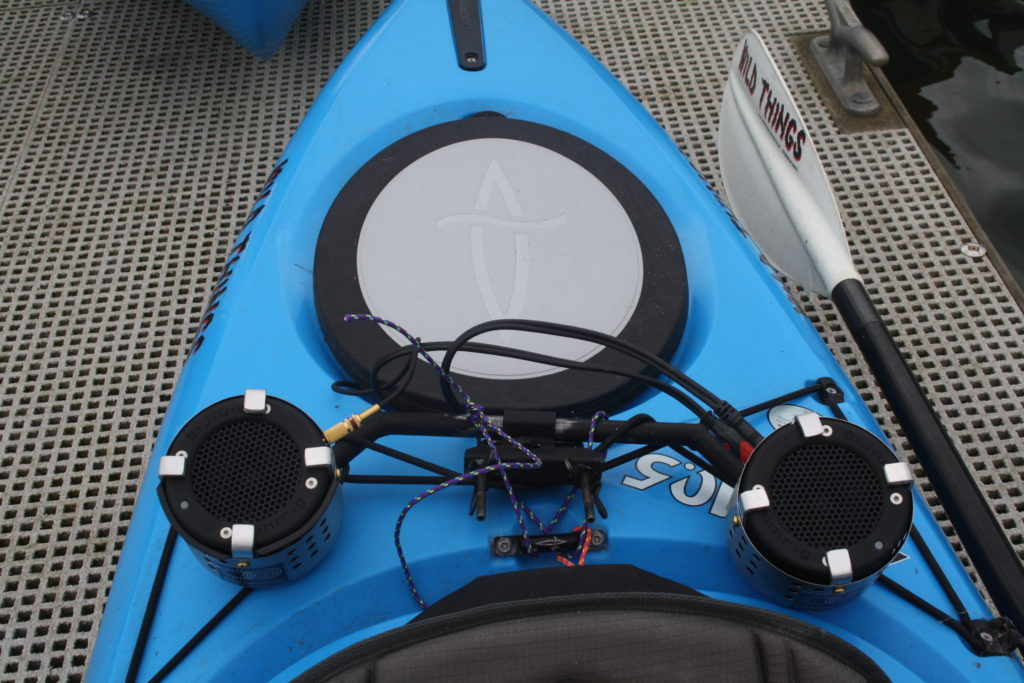 The Sonic Kayak is rigged with speakers and underwater microphones. Photo by FoAM