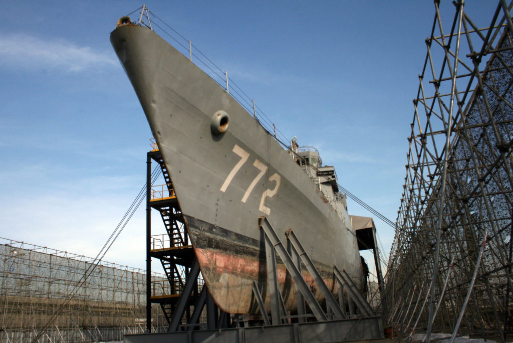 The Cheonan ship is in drydock at South Korea's 2nd Fleet headquarters in Pyeongtaek. Photo by Larisa Epatko/PBS NewsHour