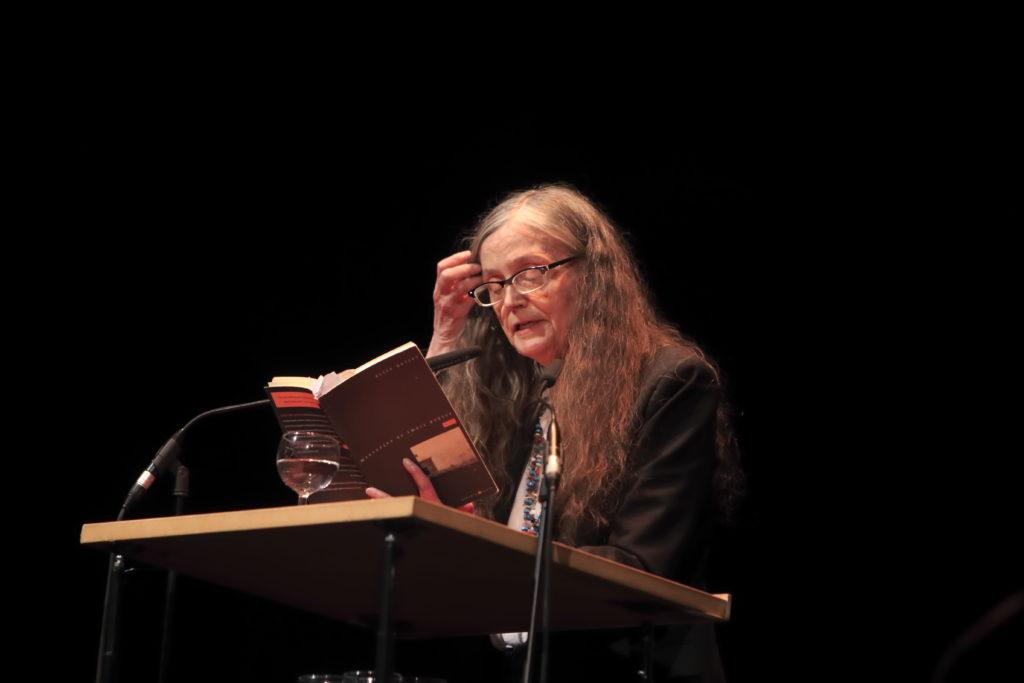 Alice Notley reading in Berlin in 2014. (Photo by Gezett/ullstein bild via Getty Images)