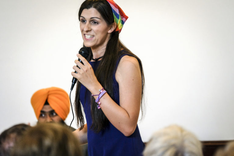 MANASSAS, VA - JUNE 2: Democratic primary candidate Danica Roem makes her pitch to voters at the Bull Run Swim & Raquet Club while debating three fellow Democrats vying to unseat Republican State Delegate Bob Marshall in Manassas, Virginia Friday June 2, 2017. (Photo by J. Lawler Duggan/For The Washington Post via Getty Images)
