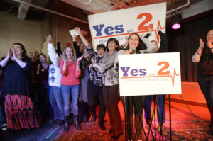 "Jennie Pirkl campaign manager for ""Yes on 2"" announces victory on 2017 Election Day in Portland, Maine. Photo by Shawn Patrick Ouellette/Portland Press Herald via Getty Images"