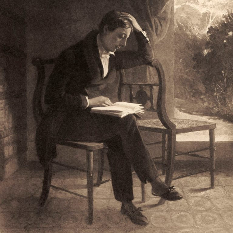 John Keats reading a book of poetry, after a portrait by Joseph Severn. (Photo by Culture Club/Getty Images)
