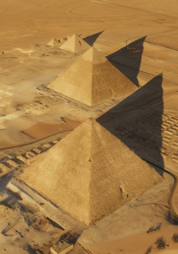 An aerial view of the Great Pyramids of Giza and the Khufu Pyramid up front. Photo by the ScanPyramids mission