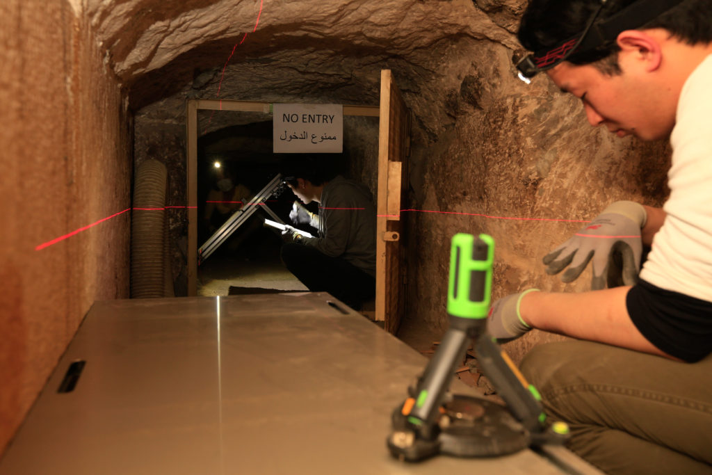 Nagoya University researchers install muon emulsion film set up in Khufu Queen's Chamber. Photo by the ScanPyramids mission