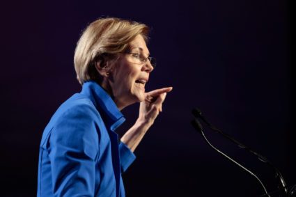 Senator Elizabeth Warren (D-MA) addresses the audience at the morning plenary session at the Netroots Nation conference for political progressives in Atlanta, Georgia, U.S. August 12, 2017. REUTERS/Christopher Aluka Berry - RC19284659C0