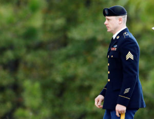 "U.S. Army Sergeant Beaudry Robert ""Bowe"" Bergdahl arrives at the courthouse for the fifth day of sentencing proceedings in his court martial at Fort Bragg, North Carolina, U.S., October 31, 2017. Photo by Jonathan Drake/Reuters"