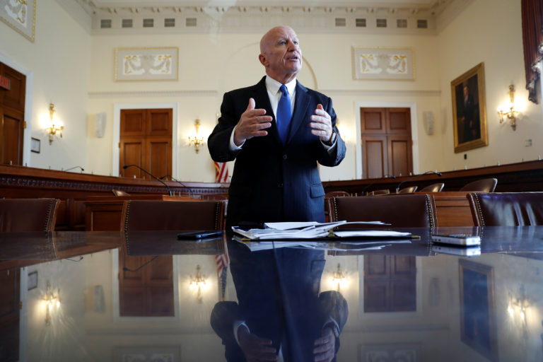 Rep. Kevin Brady (R-TX), Chairman of the House Ways and Means Committee, holds a briefing for reporters on the Republican tax reform plan on Capitol Hill in Washington, U.S., November 2, 2017. REUTERS/Aaron P. Bernstein - RC185DA3DCC0