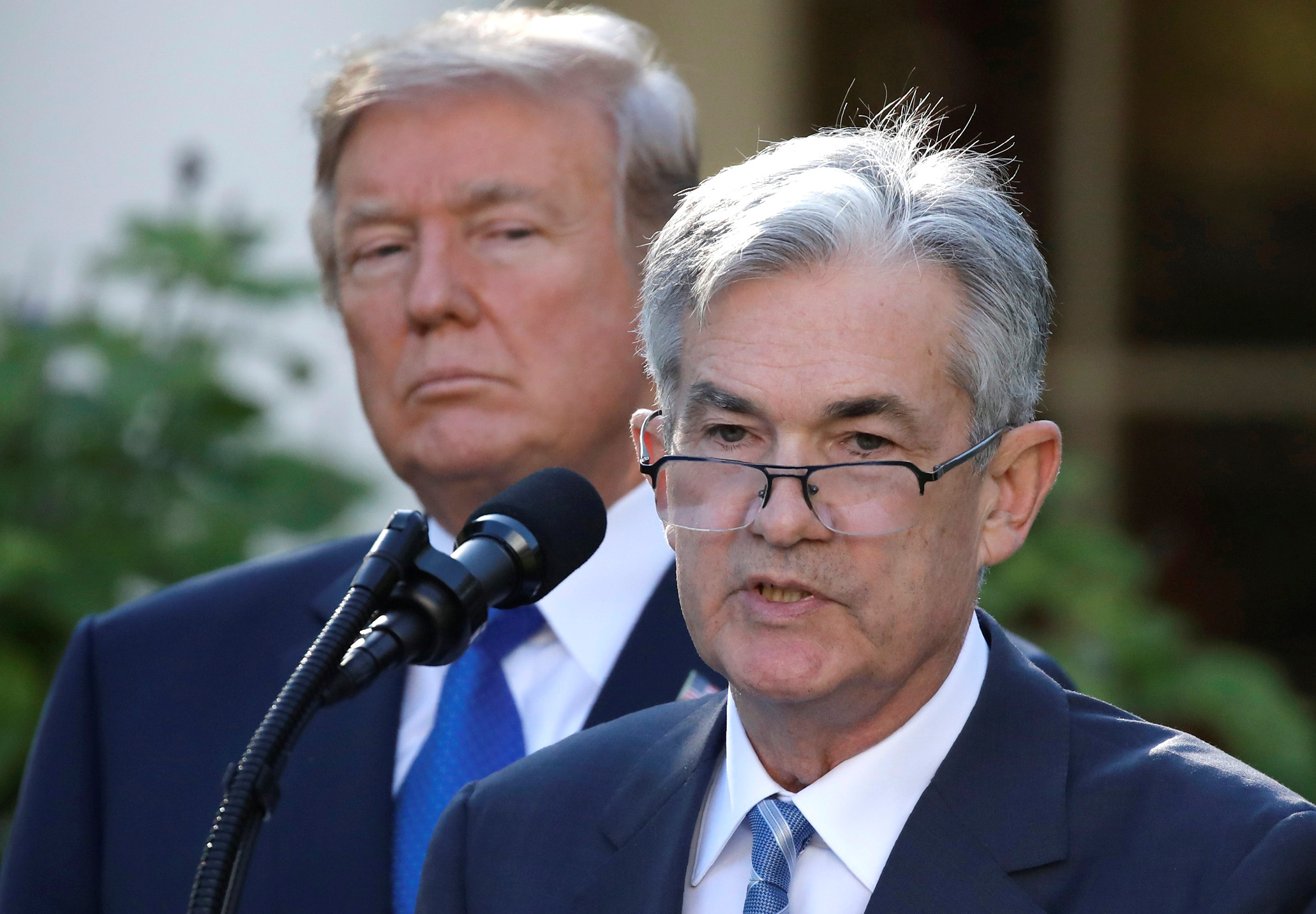 U.S. President Donald Trump looks on as Jerome Powell, his nominee to become chairman of the U.S. Federal Reserve, speaks at the White House in Washington, U.S., November 2, 2017. REUTERS/Carlos Barria - RC1D42CC0930
