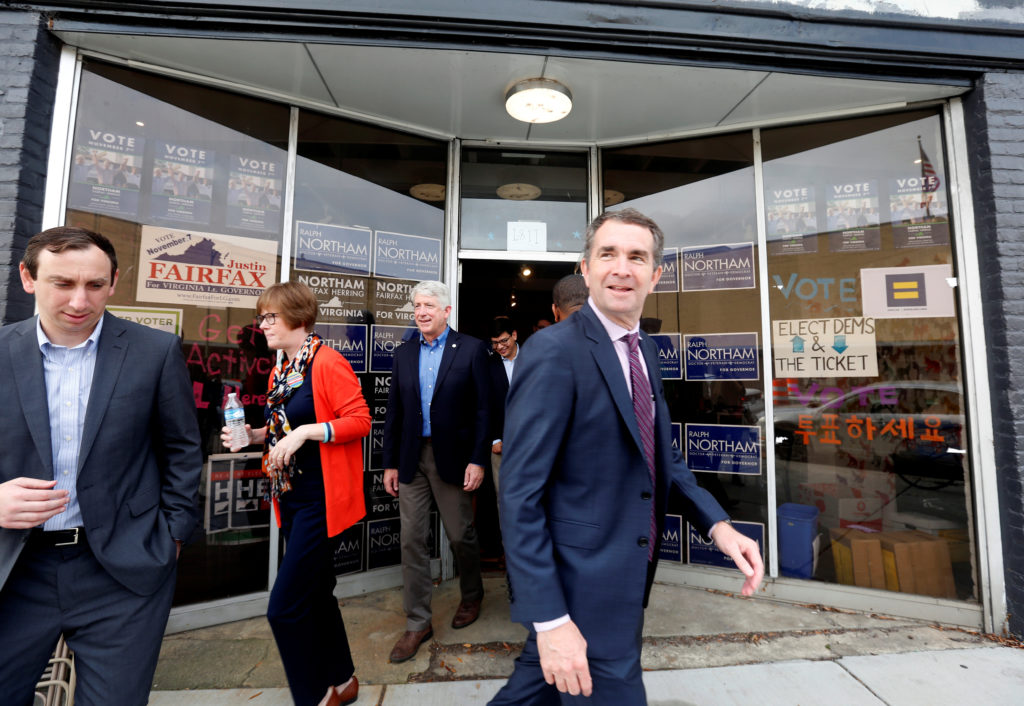 Virginia Lieutenant Governor Ralph Northam, who is campaigning to be elected as the state's governor, leaves a rally in Richmond on November 6, 2017. Photo by REUTERS/Julia Rendleman