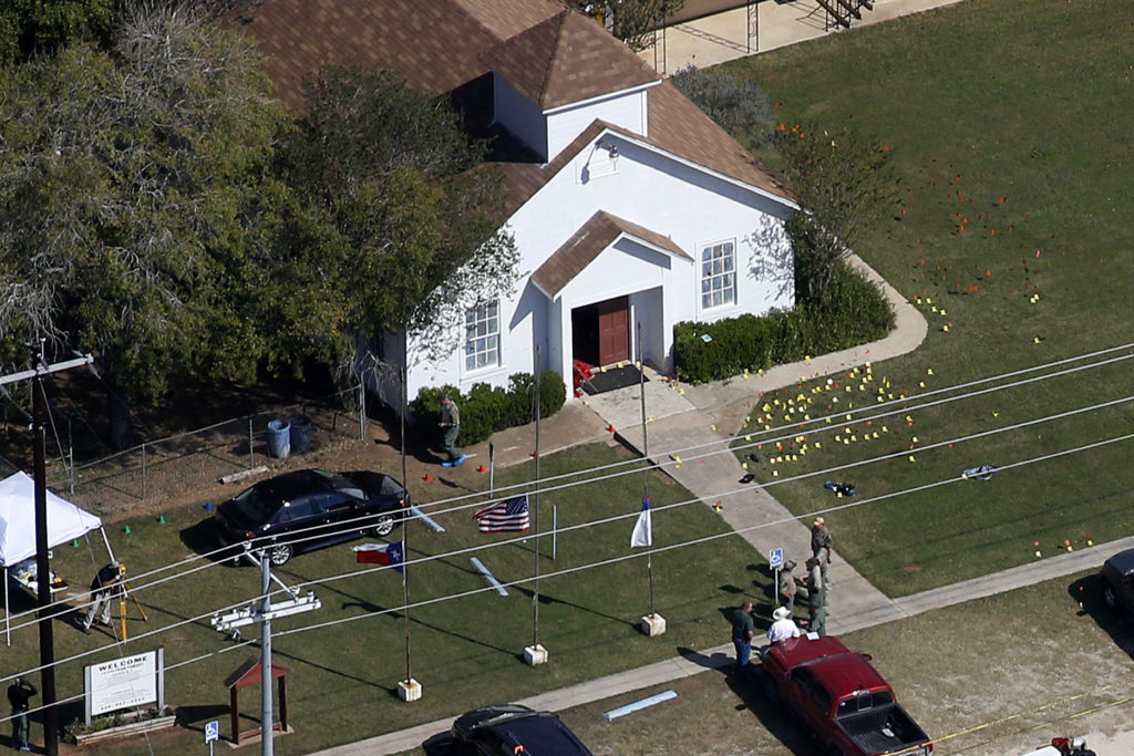 An aerial photo showing the site of a mass shooting at the First Baptist Church of Sutherland Springs, Texas, U.S., November 6, 2017. REUTERS/Jonathan Bachman
