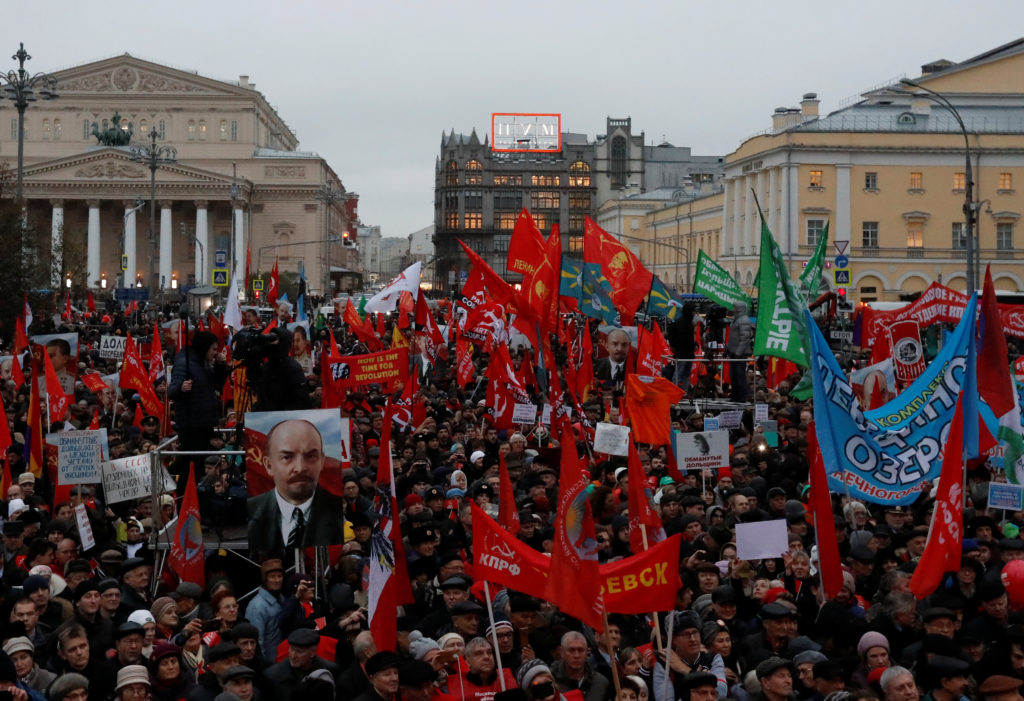Demonstrators attend a rally held by the Russian Communist party to mark the Red October revolution's centenary in central Moscow on Nov. 7. Photo by Sergei Karpukhin/Reuters