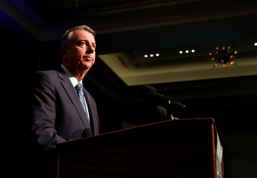 Republican candidate for Virginia governor Ed Gillespie speaks to supporters after conceding the race to Democrat Ralph Northam in Richmond, Virginia, on November 7, 2017. Photo by REUTERS/Julia Rendleman