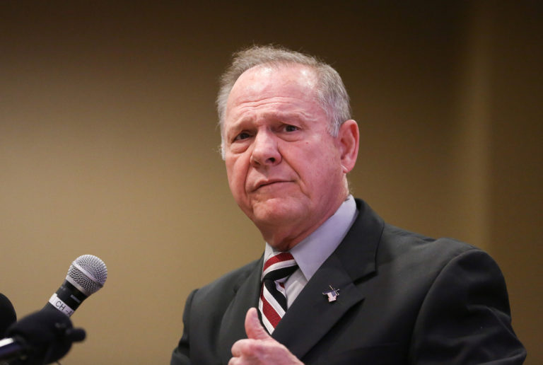 Judge Roy Moore participates in the Mid-Alabama Republican Club's Veterans Day Program in Vestavia Hills, Alabama, U.S., November 11, 2017. REUTERS/Marvin Gentry - RC17037DC8F0
