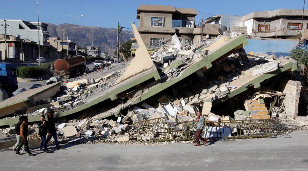 Buildings collapsed in the town of Darbandikhan in the semi-autonomous Kurdistan region of Iraq after a Nov. 12 earthquake. Photo by Ako Rasheed/Reuters