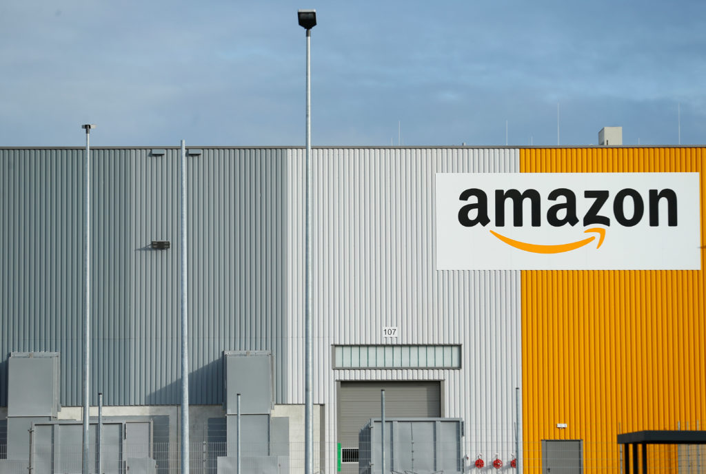 A view of the new Amazon logistic center with the company's logo in Dortmund, Germany. Photo by Thilo Schmuelgen/Reuters