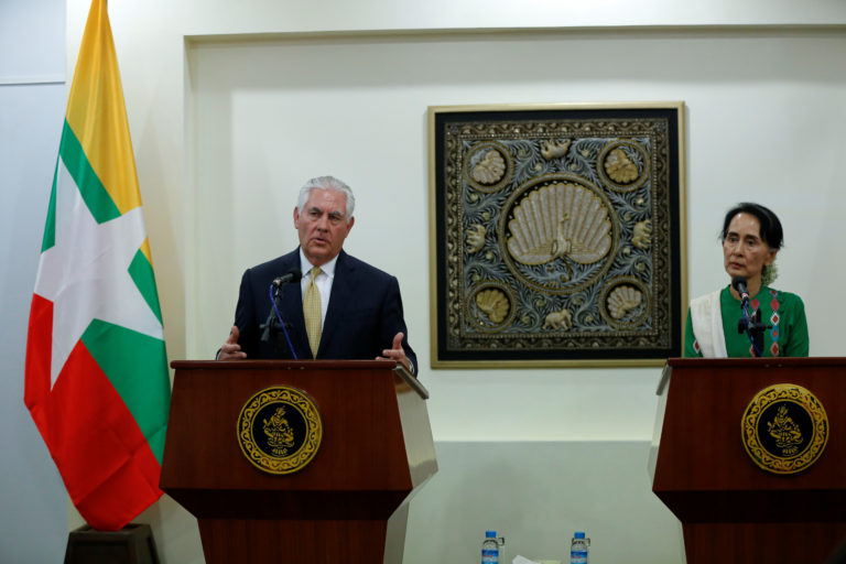 Secretary of State Rex Tillerson and Myanmar's State Counselor Aung San Suu Kyi speak at a news conference at Naypyitaw, Myanmar, on Nov. 15. Photo by a Reuters stringer