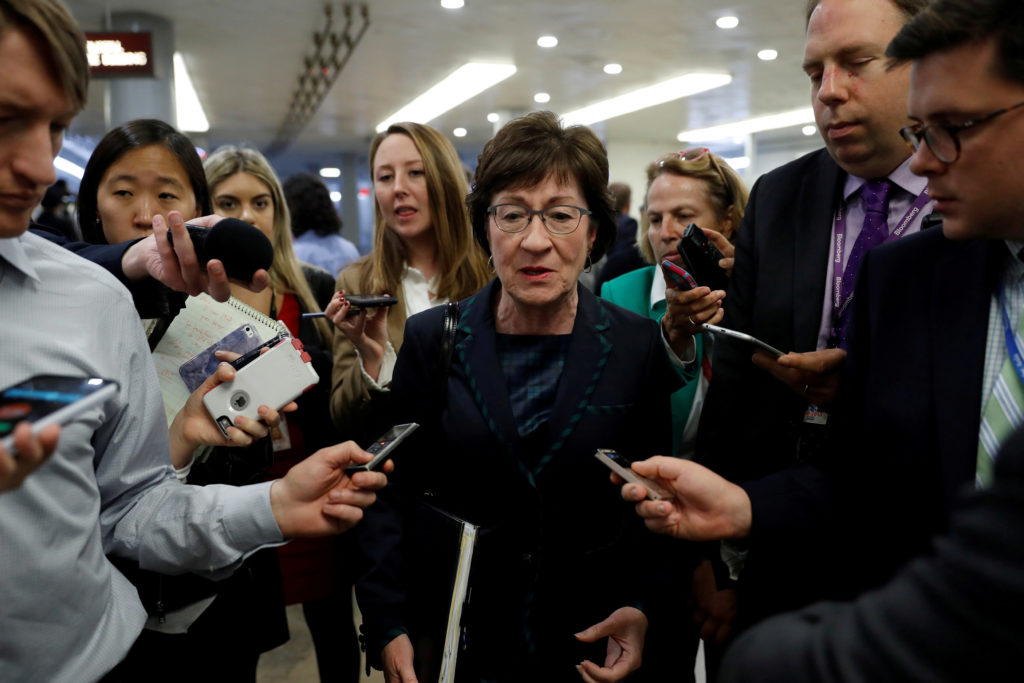 FILE PHOTO: Sen. Susan Collins (R-ME) speaks with reporters ahead of the party luncheons on Capitol Hill in Washington, U.S., October 3, 2017. REUTERS/Aaron P. Bernstein/File Photo - RC1965F32030